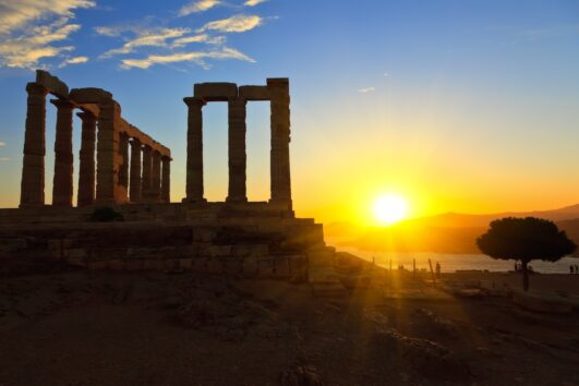 Athens City With Acropolis and Cape Sounio