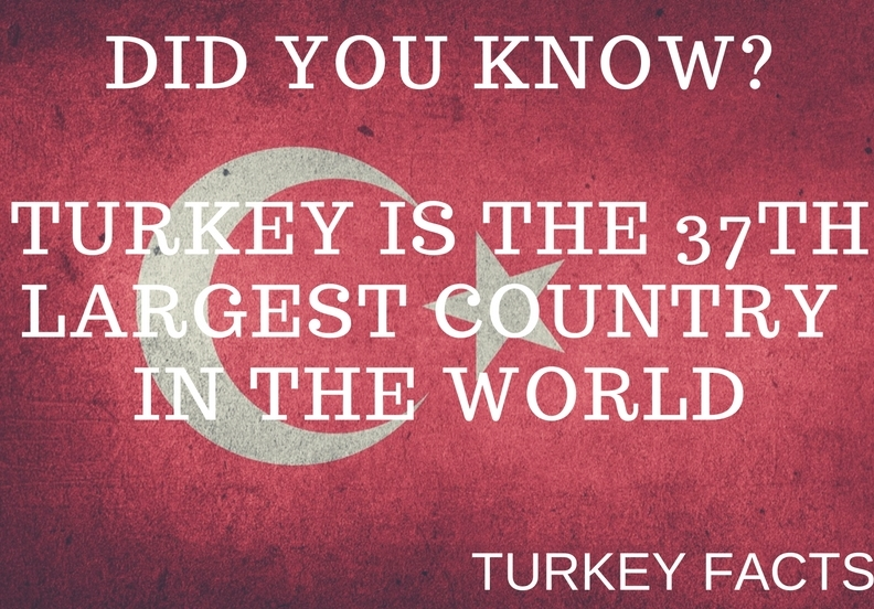 TURKEY IS THE 37TH LARGEST COUNTRY IN THE WORLD